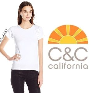 C & C California White Mason Scoop Neck T NWT